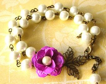 Flower Bracelet Bridesmaid Jewelry Brass Leaf Bracelet Purple Jewelry Bridal Jewelry Charm Bracelet Bridesmaid Gift
