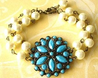 Turquoise Bridal Jewelry Charm Bracelet Bridal Bracelet Wedding Jewelry Turquoise Bracelet Flower Bracelet Bridesmaid Jewelry