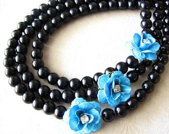 Statement Necklace Black Jewelry Bib Necklace Flower Necklace Turquoise Jewelry Bridesmaid Jewelry Multi Strand