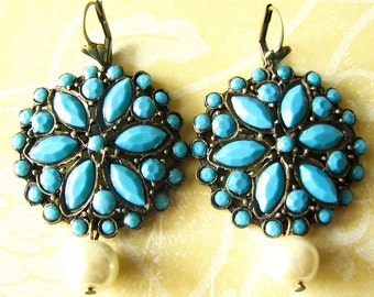 Turquoise Jewelry Turquoise Earrings Dangle Earrings Flower Earrings Bridesmaid Gift