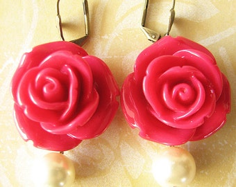 Bridesmaid Jewelry Flower Earrings Rose Jewelry Dangle Earrings Red Earrings Drop Earrings