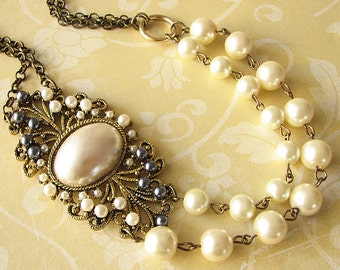 Bridal Jewelry Statement Necklace Vintage Style Wedding Jewelry Pearl Bridal Necklace Double Strand Bridesmaid Gift