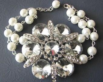Bridal Bracelet Wedding Jewelry Flower Bracelet Bridal Jewelry Crystal Wedding Bracelet Bridesmaid Jewelry Crystal Bracelet