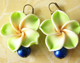 Flower Earrings Lime Green Jewelry Orchid Earrings Bridesmaid Jewelry Summer Earrings Dangle Beach Wedding Gift