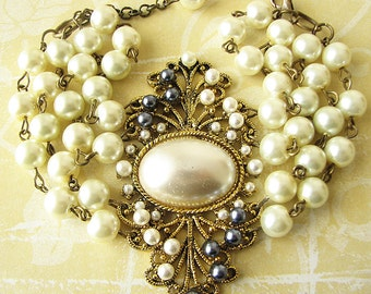 Pearl Bracelet Bridal Jewelry Wedding Bracelet Pearl Wedding Jewelry Cuff Bracelet Beaded Bracelet Gift For Her Triple Strand