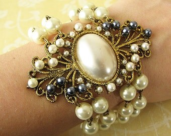 Bridal Bracelet Pearl Bracelet Bridal Jewelry Wedding Bracelet Pearl Wedding Jewelry Cuff Bracelet Vintage Style Beaded Bracelet