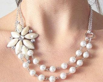 Bridal Necklace Wedding Jewelry Statement Necklace Pearl Necklace Bridal Jewelry Rhinestone Necklace by Zafirenia