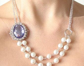 Bridal Jewelry Purple Bridal Necklace Pearl Wedding Jewelry Rhinestone Wedding Necklace Bridesmaid Jewelry