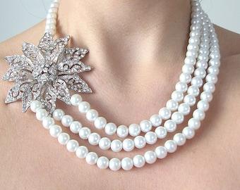 Bridal Necklace Wedding Jewelry Swarovski Necklace Bridal Jewelry Crystal Necklace Pearl Necklace