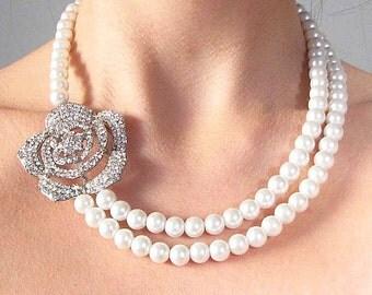Bridal Necklace Bridal Jewelry Wedding Necklace Pearl Necklace Wedding Jewelry Rhinestone Flower Necklace Crystal Necklace