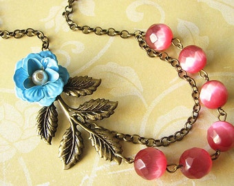 Statement Necklace Bridesmaid Jewelry Flower Necklace Pink Jewelry Leaf Necklace Beadwork