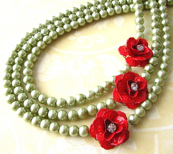 Flower Necklace Statement Necklace Rose Jewelry Olive Green Necklace Statement Jewelry Triple Strand Bridesmaid Gift Beadwork