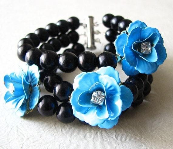 Cuff Bracelet Black Jewelry Turquoise Flower Bracelet Rose Jewelry Beaded Bracelet