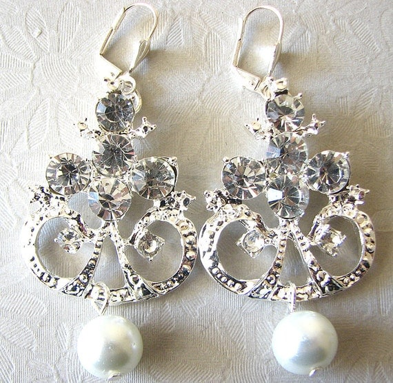 Reserved for Kim - Chandelier Earrings Bridal Jewelry Drop Crystal Pearl Bridal Earrings Wedding Jewelry