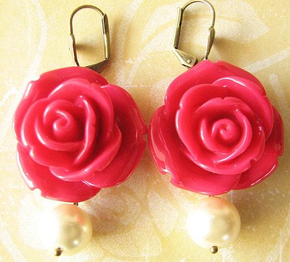 Bridesmaid Jewelry Flower Earrings Pearl Jewelry Red Rose Earrings Dangle Earrings Rose Jewelry Drop