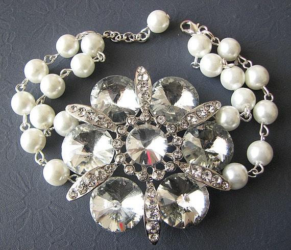 Bridal Bracelet Wedding Jewelry Flower Bracelet Bridal Jewelry Crystal Wedding Bracelet Bridesmaid Jewelry