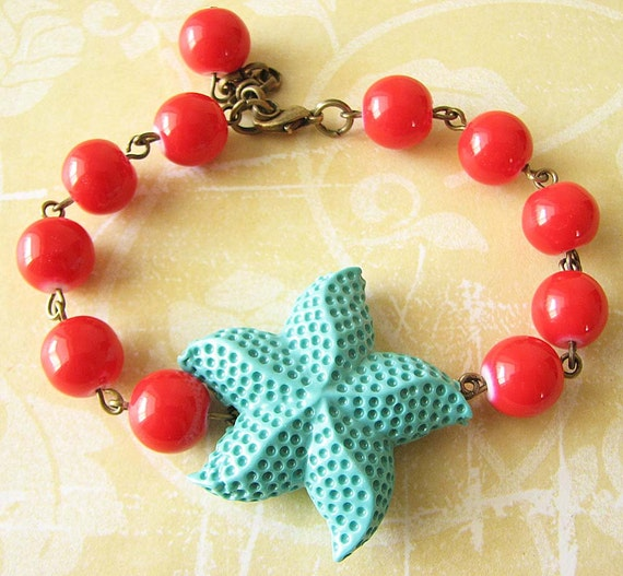 Starfish Bracelet Starfish Jewelry Red and Turquoise Bracelet Bridesmaid Bracelet Gift Beaded Charm Bracelet