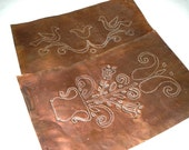 """2 Vintage Copper Sheet Metal Pieces. Punched Decorative Birds and Hearts Design and Floral Decoration 12"""""""
