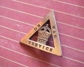 1916 On War Service Brass Badge London World War 1