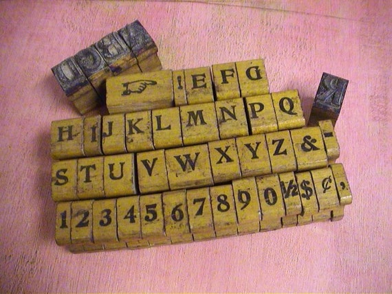 Antique Print Type Blocks Rubber Stamp Alphabet And Numbers