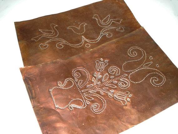 2 Vintage Copper Sheet Metal Pieces Punched Decorative Birds