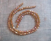 Crystal Designer Glass,  Metalic Amber,  Bicone Faceted Beads 2 - 7.5  Inch 4mm Strands