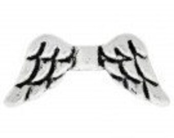 Angel Wing Bead Charms Antique Silver Pack Of 10