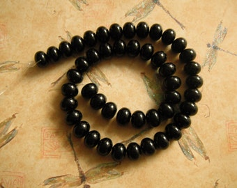 Black Glass Pearls Rondelle Beads 15.5 Inch Strand 12x8 Beads