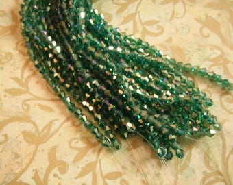 Green AB Crystal Designer Glass Bicone Faceted Beads 4mm (2) 8 Inch Strands