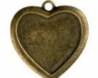 Antique Brass Cabochon Heart Charm Pack Of 5