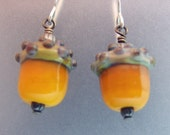 Pumpkin Acorn Earrings, Lampwork Jewelry Handmade in North Carolina