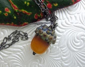 Pumpkin Acorn Pendant, Lampwork Jewelry Handmade in North Carolina