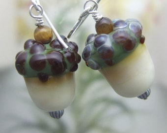 Ivory Acorn Earrings, Lampwork Jewelry Handmade in North Carolina