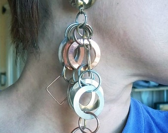 Big Dangly Mod Vintage Metal Earrings
