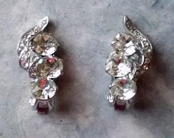 Vintage Signed Eisenberg Clip On Rhinestone Earrings