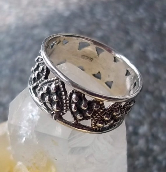 Vintage Sterling Silver Beaded Heart Ring
