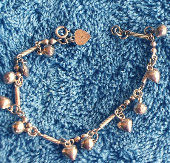 Jingly Sterling Silver Bracelet with Tiny Bells and Hearts