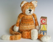 The CAT - HandSpun Yarn Kit, HandSpun and Hand Dyed Merino Yarn, 2ply, bulky, in Tabby Orange and White