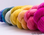 Sock Yarn, Mini Skeins, Stripes and Rainbow, sw merino, 50 yards, 15g, Spin's choice of 11 mini skeins