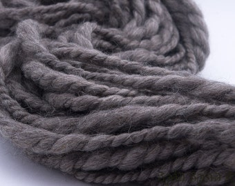 HandSpun Natural Yarn, Pure Chunky, Grey Merino,  Extra Bulky 2ply, 100 yards