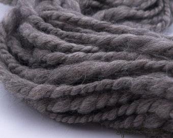 Pure Chunky Grey, handspun yarn, super bulky merino yarn, 50 yards