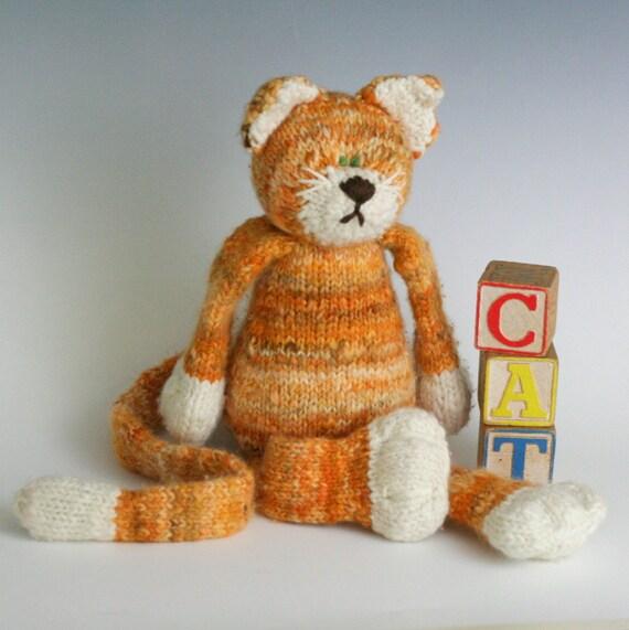 The CAT - Yarn Kit, HandSpun and Hand Dyed Organic Merino Yarn, 2ply, bulky, in Tabby Orange and White