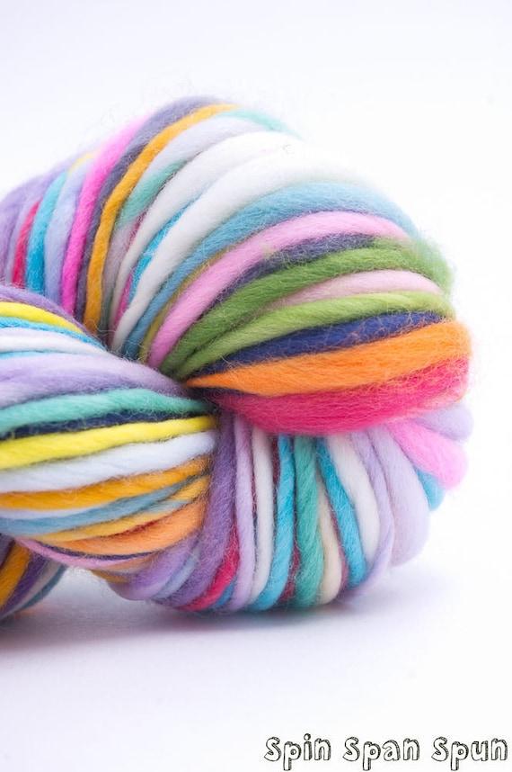 Just a Rainbow, HandSpun and Hand Painted Organic Merino Yarn, 85 yards, heavy worsted
