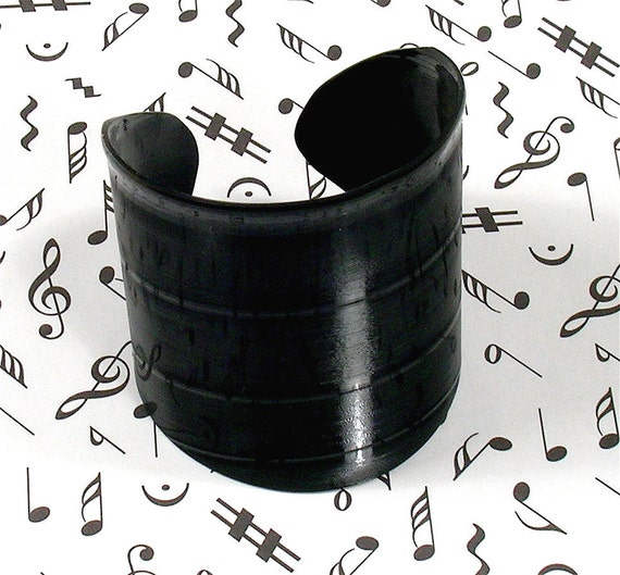 Black Vinyl Record Album Wrist Cuff Size Medium