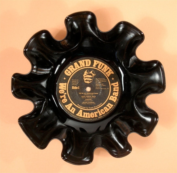 Grand Funk Railroad Vinyl Record Bowl Vintage LP Album 1973 (We're An American Band) Black and Orange Label