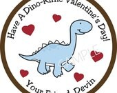 Personalized Stickers, Dinosaur, Valentine Stickers, Cute,Valentines Day,Hearts, Red, Pink, Love,Set of 10