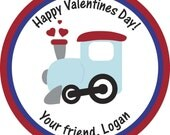 Personalized Stickers, Train, Valentine Stickers, Cute,Treat bag labels,Hearts,Labels,Personalized Stickers Set of 24