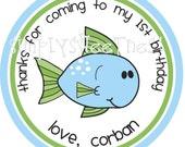 Personalized Stickers, Fish, Sea Birthday, Boy, Girl,Birthday,Children, Party, Favor stickers, Seals, Labels,Personalized Stickers Set of 24