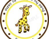 Personalized Stickers, Giraffe, Boy, Treat bag,Birthday,Children, Party, Favor stickers,Personalized Stickers Set of 24