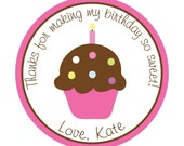 Personalized Stickers, Cupcake, Polka dots,Birthday,Children, Kids,Party, Favor stickers, Seals, Labels, Tags, Set of 24